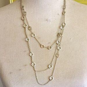 White House black market silvertone necklace 26 in